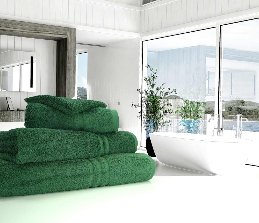 Great Quality Blue Label 500gsm Bath Towel In Bottle Green